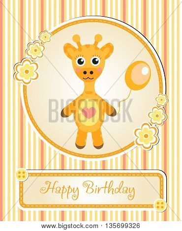 greeting template cute children's birthday party cartoon giraffe