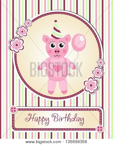 greeting template cute children's birthday party cartoon pig