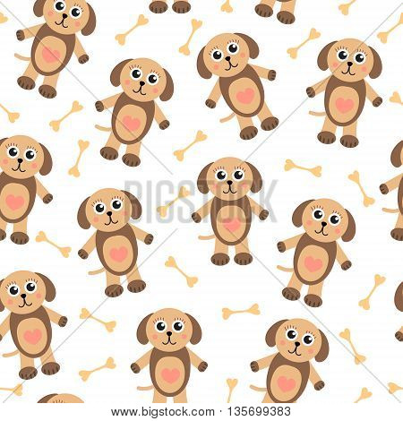 Cute cartoon puppy dog seamless texture. Children's background fabric. Vector illustration