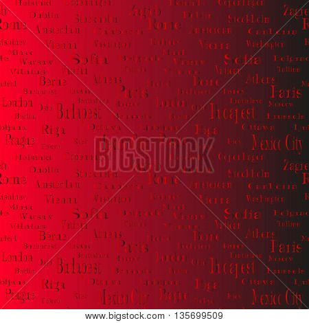 seamless text pattern with words of name of cities and capitals