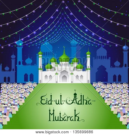 vector illustration of mosque on Eid Mubarak background
