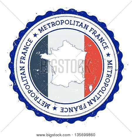 France Map And Flag In Vintage Rubber Stamp Of State Colours. Grungy Travel Stamp With Map And Flag