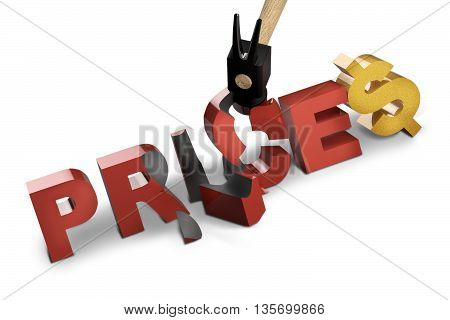 hammer breaking prices tag for summer sales discounts - 3D rendering
