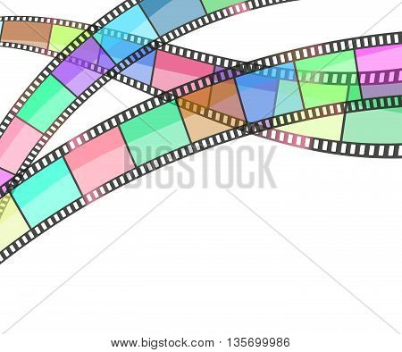 cinema background with film strips on white. vector