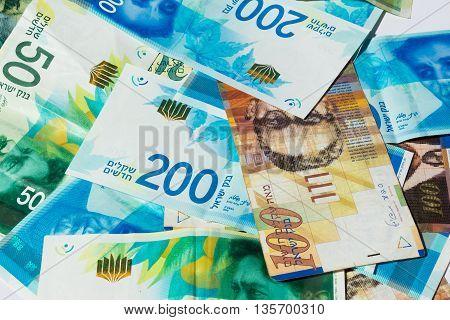 Stack Of Various Of Israeli Shekel Money Bills - Top View