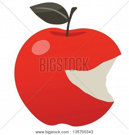 red apple delicious bitten smiley vector clipart