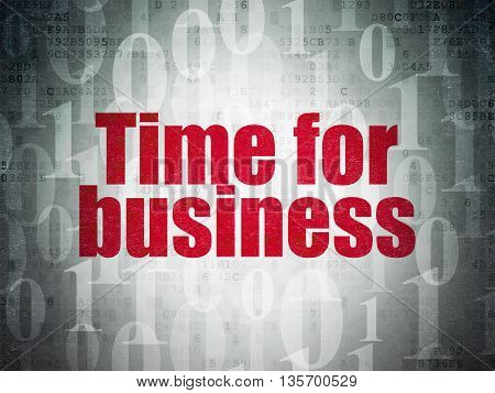 Business concept: Painted red text Time for Business on Digital Data Paper background with   Binary Code