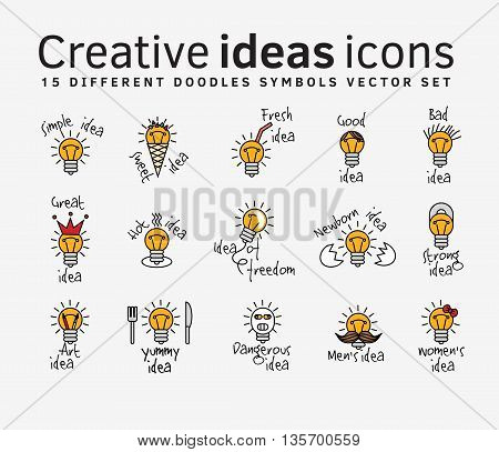 Creative ideas color flat icons symbols set. Color vector illustration. EPS8