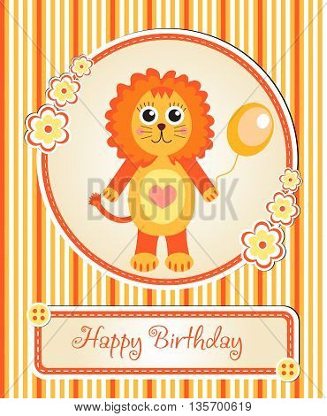 greeting template cute children's birthday party cartoon lion