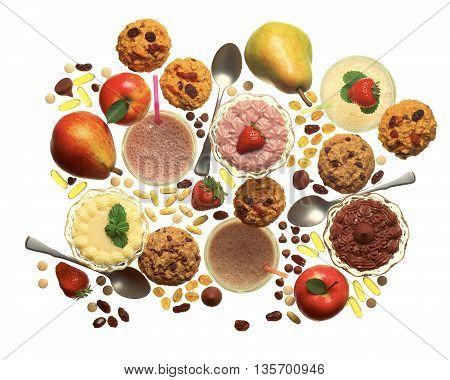 health food snacks cookies pills shakes fruit