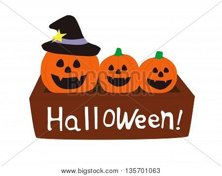 three pumpkins in the box halloween icon isolated on white background vector illustration design