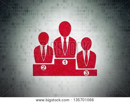 Business concept: Painted red Business Team icon on Digital Data Paper background