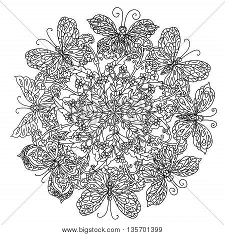 mandala shaped contoured flowers, leaves and butterfly for adult coloring book in zen art style for anti stress drawing. Hand-drawn, retro, doodle, vector, black and white, for coloring book or poste.