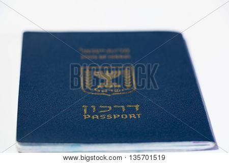 Israeli Passport On White Background
