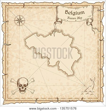Belgium Old Pirate Map. Sepia Engraved Template Of Treasure Map. Stylized Pirate Map On Vintage Pape
