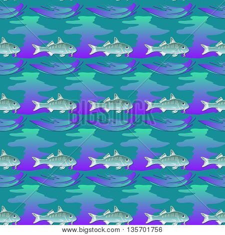 Seamless textures  marine ornament with fishes and waves on aquamarine background. Vector  pattern.