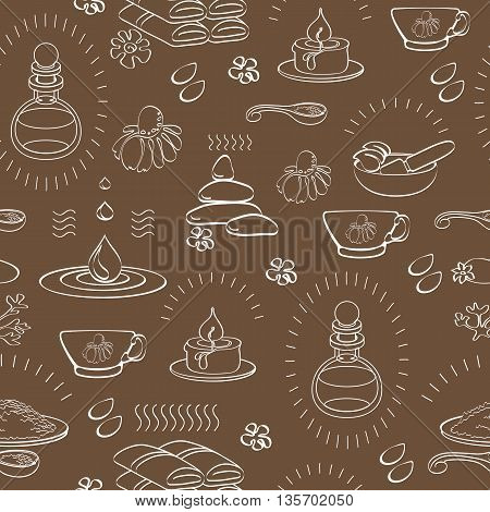 Vector spa themed seamless pattern with signs oil, stone, candle, bank, bottle, chamomile, tea, towel, cup, mortar and pestle on brown background