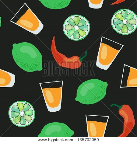 vector seamless pattern with tequila shots, limes, salt and red pepper