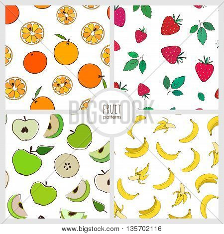 set of four vector seamless pattern with different fruits: banana, apple, strawberry, orange