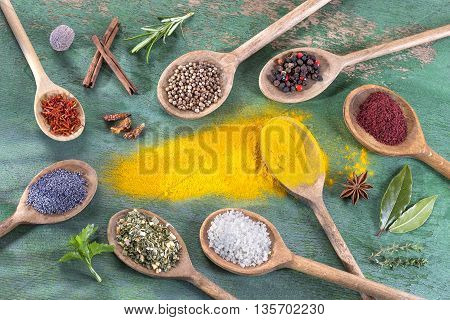 Colorful spices in wooden spoons on green backgroung