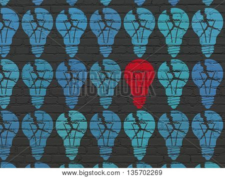 Finance concept: rows of Painted blue light bulb icons around red light bulb icon on Black Brick wall background