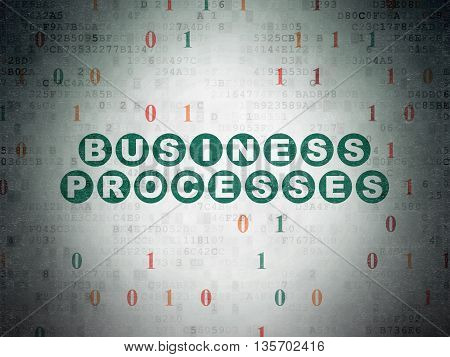 Finance concept: Painted green text Business Processes on Digital Data Paper background with Binary Code