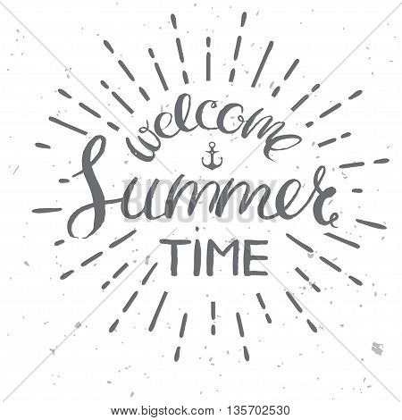welcome summer time card, vector vintage style illustration for summer holidays