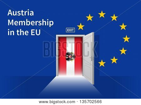Flag of the Austria and the European Union. Austria Flag and EU Flag. Abstract Austria exit in a wall