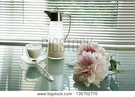 still life peony and Antique jug and cup of milk