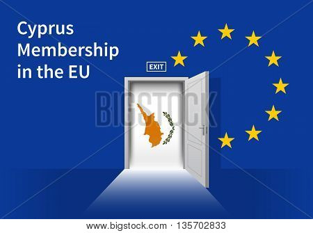Flag of the Cyprus and the European Union. Cyprus Flag and EU Flag. Abstract Cyprus exit in a wall