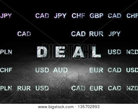 Finance concept: Glowing text Deal in grunge dark room with Dirty Floor, black background with Currency