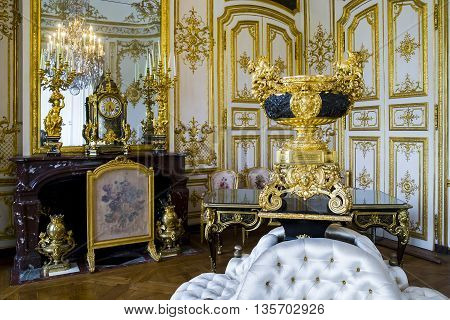 CHANTILLY, FRANCE - MAY 14, 2015: This is the interior of one of the inner apartments of the castle.