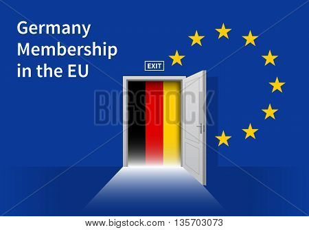 Flag of the Germany and the European Union. Germany Flag and EU Flag. Abstract Germany exit in a wall