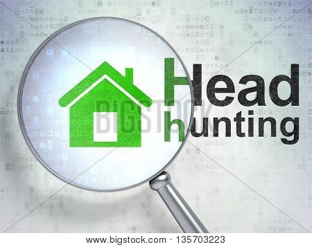 Finance concept: magnifying optical glass with Home icon and Head Hunting word on digital background, 3D rendering