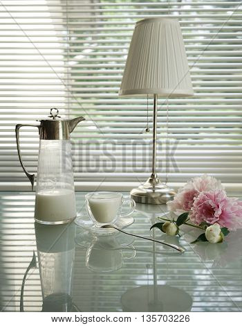still life, peony, reading lamps, Antique jug and cup of milk