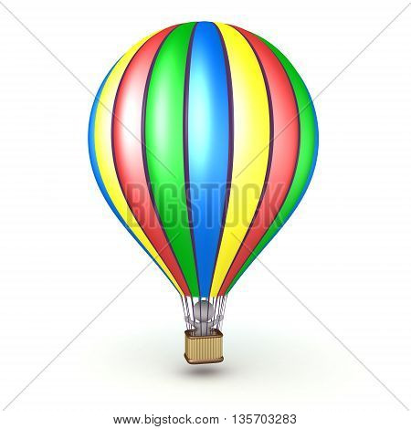 3D character riding in a colorful hot air balloon. Isolated on white background.