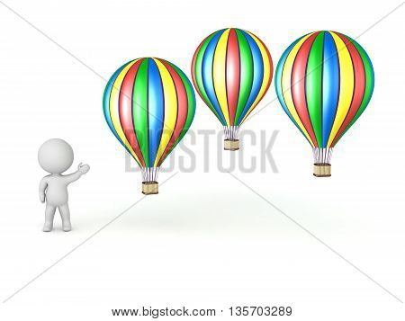 3D character showing several colorful hot air balloons. Isolated on white background.