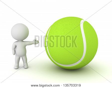 3D character showing a large tennis ball. Isolated on white background.