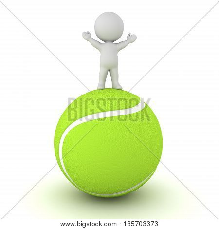 3D character standing with arms raised on a large tennis ball. Isolated on white background.