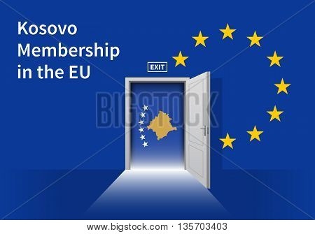 Flag of the Kosovo and the European Union. Kosovo Flag and EU Flag. Abstract Kosovo exit in a wall