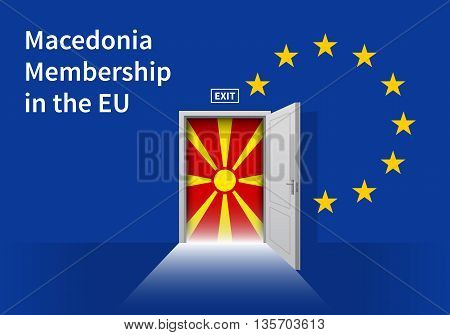 Flag of the Macedonia and the European Union. Macedonia Flag and EU Flag. Abstract Macedonia exit in a wall