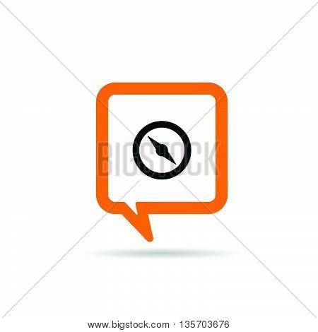 Square Orange Speech Bubble With Compas Illustration