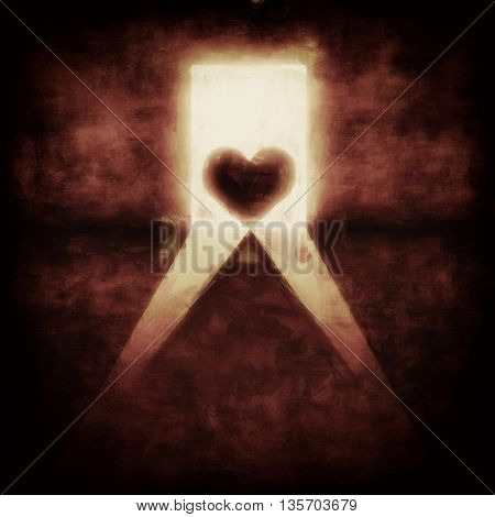 Illustration of a heart in a open door of a dark room