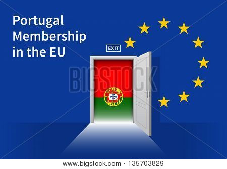 Flag of the Portugal and the European Union. Portugal Flag and EU Flag. Abstract Portugal exit in a wall