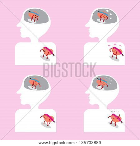 brain and heart cartoon character vector illustration image showing action moments getting together well inside head and human body (conceptual image about thought and passion are in same directions)