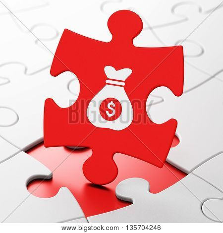 Business concept: Money Bag on Red puzzle pieces background, 3D rendering