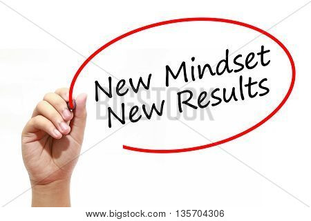 Man Hand writing New Mindset New Results with marker on transparent wipe board. Business internet technology concept.