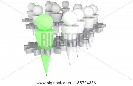 teamwork man connected via gear white background 3D illustration