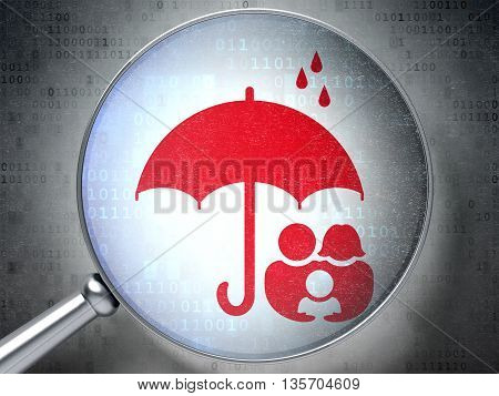 Protection concept: magnifying optical glass with Family And Umbrella icon on digital background, 3D rendering