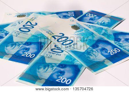 Stack Of Israeli Money Bills Of 200 Shekel